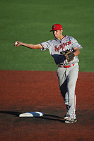 Kole Enright (10) of the Spokane Indians throws to first base during a game against the Hillsboro Hops at Ron Tonkin Field on July 22, 2017 in Hillsboro, Oregon. Spokane defeated Hillsboro, 11-4. (Larry Goren/Four Seam Images)