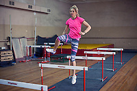 Krasnodar, Russia, 16/03/2009..World champion heptathlete Tatyana Chernova training at the gym in her home city of Krasnodar. Chernova, who won bronze in the Beijing Olympic Games, is tipped for gold in the forthcoming London Olympics.