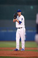 Tulsa Drillers starting pitcher Andrew Sopko (20) gets ready to deliver a pitch during a game against the San Antonio Missions on June 1, 2017 at ONEOK Field in Tulsa, Oklahoma.  Tulsa defeated San Antonio 5-4 in eleven innings.  (Mike Janes/Four Seam Images)