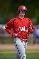 Canada Junior National Team Brody Alexandre (47) jogs to first base during an exhibition game against the Toronto Blue Jays on March 8, 2020 at Baseball City in St. Petersburg, Florida.  (Mike Janes/Four Seam Images)