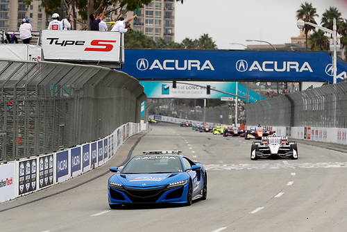 #2: Josef Newgarden, Team Penske Chevrolet follows the Acura Type S pace car