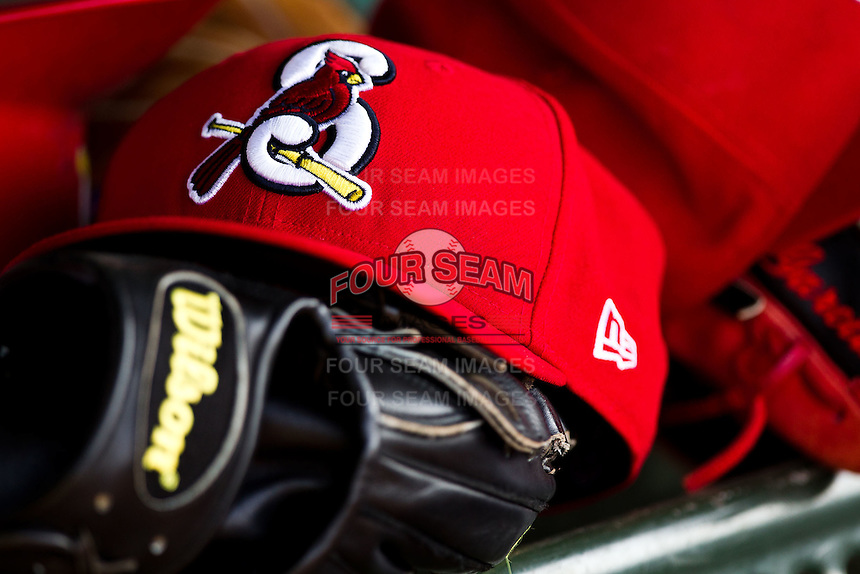 The glove and hat of a Springfield Cardinals sits in the dugout during a game against the Arkansas Travelers at Hammons Field on May 5, 2012 in Springfield, Missouri. (David Welker/Four Seam Images)