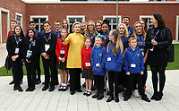 Pictured: Hillary Clinton shows how to pose for the cameras to young pupils from Narberth, Pentrehafod and Blaen-y-maes Primary Schools, at Swansea University Bay Campus. Saturday 14 October 2017<br />Re: Hillary Clinton, the former US secretary of state and 2016 American presidential candidate will be presented with an honorary doctorate during a ceremony at Swansea University's Bay Campus in Wales, UK, to recognise her commitment to promoting the rights of families and children around the world.<br />Mrs Clinton's great grandparents were from south Wales.