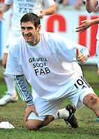 Danny Graham of Swansea City wearing a Get well soon Fab referring to footballer Fabrice Muamba.