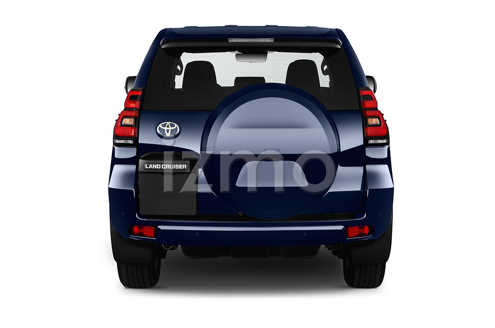 Straight rear view of 2018 Toyota Land-Cruiser-150 Style 3 Door SUV Rear View  stock images