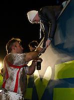 Photo: Richard Lane/Richard Lane Photography. England Legends v Ireland Legends. The Stuart Mangan Memorial Cup. 26/02/2010. England's Jason Leonard signs autographs as he leaves the field with refreshments.