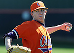 Clemson pitcher Ryan Hinson (45) warms up prior to a game between the Clemson Tigers and Mercer Bears on Feb. 23, 2008, at Doug Kingsmore Stadium in Clemson, S.C. Photo by: Tom Priddy/Four Seam Images