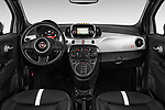 Stock photo of straight dashboard view of 2017 Fiat 500e Battery-Electric 5 Door Hatchback Dashboard
