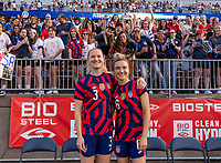 EAST HARTFORD, CT - JULY 5: Kristie Mewis #6 and Samantha Mewis #3 of the USWNT pose for a photo with friends during a game between Mexico and USWNT at Rentschler Field on July 5, 2021 in East Hartford, Connecticut.