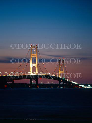 Mackinac Bridge at dusk. Located between Michigan's Upper and Lower Peninsulas. It marks the line between Lake Huron and Lake Michigan.