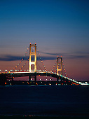 Mackinac Bridge at dusk. Located between Michigan's Upper and Lower Peninsulas. It marks the line between Lake Huron and Lake Michigan.