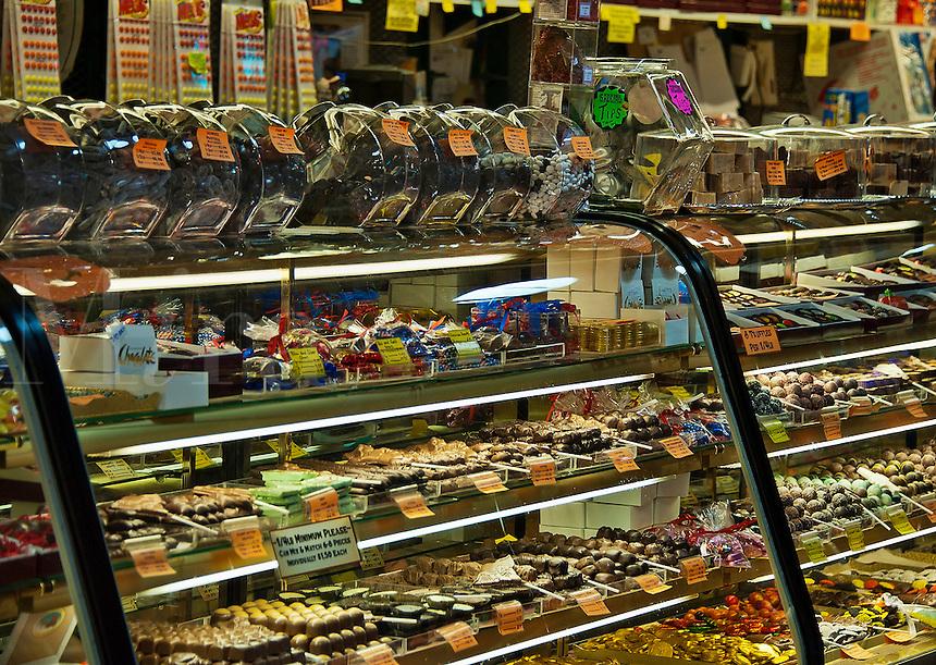 Candy shop display case, Reading Terminal Market, Philadelphia, Pennsylvania, USA