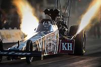 Apr. 27, 2012; Baytown, TX, USA: NHRA top fuel dragster driver Shawn Langdon during qualifying for the Spring Nationals at Royal Purple Raceway. Mandatory Credit: Mark J. Rebilas-