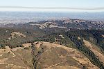 Coniferous forest and grasslands covering mountains, Santa Cruz Mountains, Monterey Bay, California