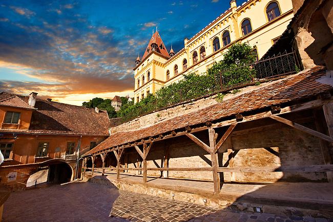 Gate of Sighisoara Saxon fortified medieval citadel, Transylvania, Romania