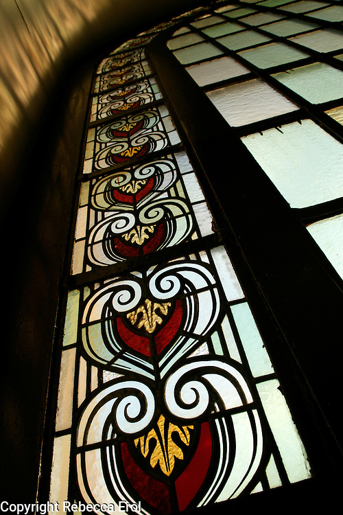 Stained glass window at Haydarpasa train station, Istanbul, Turkey