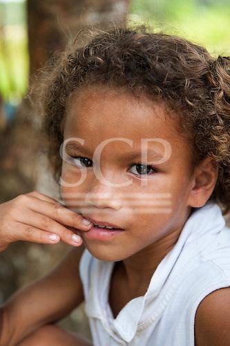 Xingu River, Para State, Brazil. The Volta Grande; Aldeia Terra Wangã da Volta Grande - Maia, Arara ethnic group. Cabocla girl.