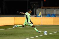 SAN JOSE, CA - SEPTEMBER 19: San Jose Earthquakes goalkeeper Daniel Vega #17 during a game between Portland Timbers and San Jose Earthquakes at Earthquakes Stadium on September 19, 2020 in San Jose, California.