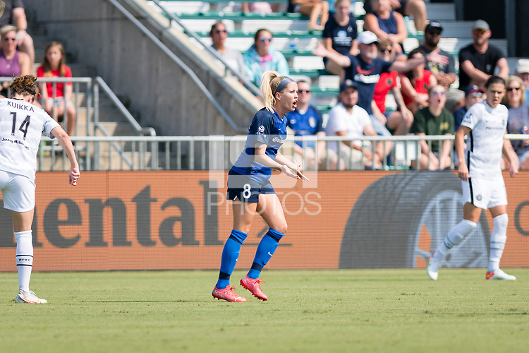 CARY, NC - SEPTEMBER 12: Denise O'Sullivan #8 of the NC Courage vehemently disagrees with a call during a game between Portland Thorns FC and North Carolina Courage at WakeMed Soccer Park on September 12, 2021 in Cary, North Carolina.
