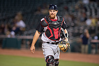 Arkansas Travelers catcher Joe DeCarlo (7) looks back to the dugout during a Texas League game between the Northwest Arkansas Naturals and the Arkansas Travelers on May 30, 2019 at Arvest Ballpark in Springdale, Arkansas. (Jason Ivester/Four Seam Images)