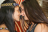 Two Maori women delegates demonstrate their traditional greeting at the International Indigenous Games in Brazil. 27th October 2015
