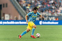 FOXBOROUGH, MA - AUGUST 8: Ilsinho #25 of Philadelphia Union dribbles during a game between Philadelphia Union and New England Revolution at Gillette Stadium on August 8, 2021 in Foxborough, Massachusetts.
