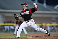Batavia Muckdogs pitcher Ben Holmes (36) delivers a pitch during a game against the Mahoning Valley Scrappers on August 22, 2014 at Dwyer Stadium in Batavia, New York.  Mahoning Valley defeated Batavia 2-1.  (Mike Janes/Four Seam Images)