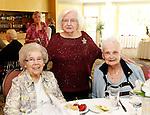 Torrington, CT-10 September 2012-091012CM18-  Social Moment-- The Torrington Woman's Club celebrates their 90th Anniversary at the Cornucopia Banquet Hall in Torrington: L-R-- Club members, Jo Bruni, Ann DeMichael and Angela Amicone. Christopher Massa Republican-American