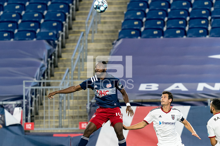 FOXBOROUGH, MA - SEPTEMBER 09: Mayele Malango #10 of New England Revolution II heads the ball during a game between Chattanooga Red Wolves SC and New England Revolution II at Gillette Stadium on September 09, 2020 in Foxborough, Massachusetts.
