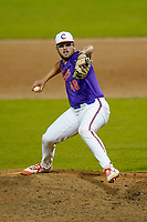 Rob Hughes (48) of the Clemson Tigers delivers a pitch in a fall Orange-Purple intrasquad scrimmage on Friday, November 13, 2020, at Doug Kingsmore Stadium in Clemson, South Carolina. (Tom Priddy/Four Seam Images)