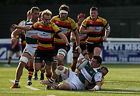 Match action during the Greene King IPA Championship match between Ealing Trailfinders and Richmond at Castle Bar , West Ealing , England  on 13 October 2018. Photo by Harry Hubbard/PRiME Media Images.