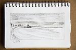 Point Wilson, Port Townsend, charcoal on paper, Journal Art 2007,