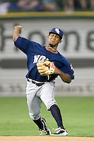 New Orleans Zephyrs shortstop Ozzie Martinez #10 throws the ball to first during the game against the Round Rock Express at the Dell Diamond on July 21, 2011 in Round Rock, Texas.  New Orleans defeated Round Rock 7-4.  (Andrew Woolley/Four Seam Images)