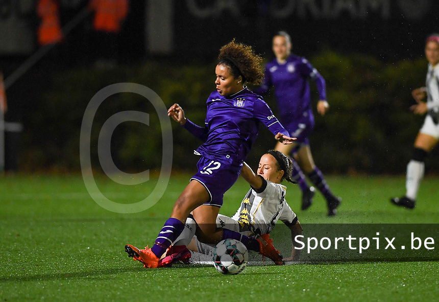 midfielder Ines Dhaou of Sporting Charleroi pictured tackling Anderlecht midfielder Kassandra Missipo (12) during a female soccer game between Sporting Charleroi and RSC Anderlecht on the third matchday of the 2020 - 2021 season of Belgian Scooore Womens Super League , friday 2 nd of October 2020  in Marcinelle , Belgium . PHOTO SPORTPIX.BE | SPP | DAVID CATRY