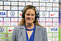 ORLANDO, FL - FEBRUARY 18: Cindy Parlow Cone of US Soccer talks during an interview during a game between Canada and USWNT at Exploria Stadium on February 18, 2021 in Orlando, Florida.