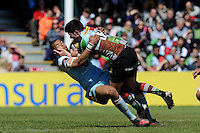 Tom Casson of Harlequins comes face to face with Luther Burrell of Northampton Saints during the Aviva Premiership match between Harlequins and Northampton Saints at the Twickenham Stoop on Saturday 4th May 2013 (Photo by Rob Munro)