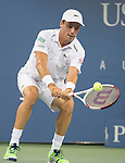 Roberto Bautista Agut (ESP) loses to Roger Federer (SUI) 6-4, 6-3, 6-2 at the US Open being played at USTA Billie Jean King National Tennis Center in Flushing, NY on September 2, 2014