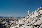 A hiker approaching the rocky summit of El Capitan in the Bitterroot Mountains in Montana