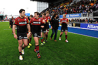 20130324 Copyright onEdition 2013©.Free for editorial use image, please credit: onEdition..Brad Barritt (left) and Alex Goode of Saracens celebrate with team mates and fans after winning the Premiership Rugby match between Saracens and Harlequins at Allianz Park on Sunday 24th March 2013 (Photo by Rob Munro)..For press contacts contact: Sam Feasey at brandRapport on M: +44 (0)7717 757114 E: SFeasey@brand-rapport.com..If you require a higher resolution image or you have any other onEdition photographic enquiries, please contact onEdition on 0845 900 2 900 or email info@onEdition.com.This image is copyright onEdition 2013©..This image has been supplied by onEdition and must be credited onEdition. The author is asserting his full Moral rights in relation to the publication of this image. Rights for onward transmission of any image or file is not granted or implied. Changing or deleting Copyright information is illegal as specified in the Copyright, Design and Patents Act 1988. If you are in any way unsure of your right to publish this image please contact onEdition on 0845 900 2 900 or email info@onEdition.com