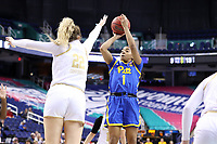 GREENSBORO, NC - MARCH 04: Dayshanette Harris #1 of the University of Pittsburgh shoots over Danielle Cosgrove #22 of Notre Dame University during a game between Pitt and Notre Dame at Greensboro Coliseum on March 04, 2020 in Greensboro, North Carolina.