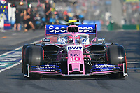 March 16, 2019: Lance Stroll (CAN) #18 from the Racing Point F1 Team leaves the pit to start the qualification session at the 2019 Australian Formula One Grand Prix at Albert Park, Melbourne, Australia. Photo Sydney Low