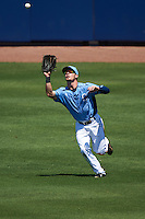 Charlotte Stone Crabs center fielder Thomas Milone (22) catches a fly ball during a game against the Palm Beach Cardinals on April 10, 2016 at Charlotte Sports Park in Port Charlotte, Florida.  Palm Beach defeated Charlotte 4-1.  (Mike Janes/Four Seam Images)