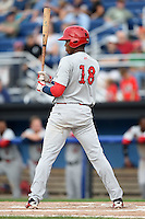 Auburn Doubledays third baseman Diomedes Eusebio (18) at bat during a game against the Batavia Muckdogs on August 31, 2014 at Dwyer Stadium in Batavia, New York.  Batavia defeated Auburn 7-6.  (Mike Janes/Four Seam Images)