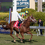 HALLANDALE BEACH, FL - JAN 06: Flameaway #1 with Julien Leparoux in the irons wins The $100,000 Kitten's Joy Stakes for trainer Mark E. Casse at Gulfstream Park on January 6, 2018 in Hallandale Beach, Florida. (Photo by Bob Aaron/Eclipse Sportswire/Getty Images)