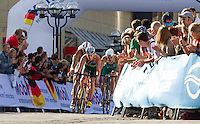 12 JUL 2014 - HAMBURG, GER - Henri Schoeman (RSA) (second from the right) from South Africa leads the front pack at the end of the first bike lap at the elite men's 2014 ITU World Triathlon Series round in the Altstadt Quarter, Hamburg, Germany (PHOTO COPYRIGHT © 2014 NIGEL FARROW, ALL RIGHTS RESERVED)