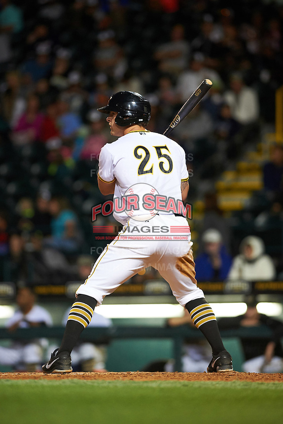 Bradenton Marauders first baseman Jerrick Suiter (25) at bat during a game against the Fort Myers Miracle on April 9, 2016 at McKechnie Field in Bradenton, Florida.  Fort Myers defeated Bradenton 5-1.  (Mike Janes/Four Seam Images)
