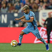 FOXBOROUGH, MA - SEPTEMBER 29: Maximiliano Moralez #10 of New York City FC dribbles during a game between New York City FC and New England Revolution at Gillette Stadium on September 29, 2019 in Foxborough, Massachusetts.