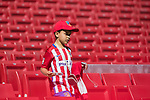 A little Atletico de Madrid's fan gets ready to take photos for his team prior to the La Liga 2017-18 match between Atletico de Madrid and Sevilla FC at the Wanda Metropolitano on 23 September 2017 in Madrid, Spain. Photo by Diego Gonzalez / Power Sport Images