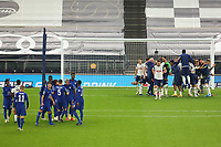 29th September 2020; Tottenham Hotspur Stadium, London, England; English Football League Cup, Carabao Cup, Tottenham Hotspur versus Chelsea; The Tottenham Hotspur players celebrate as they win the penalty shootout 5-4