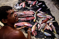 A Brazilian fisherman (jangadeiro) guts a caught fish on the beach of Caponga, Ceará state, northeastern Brazil, 12 March 2004. Jangadeiros, working on a unique wooden raft boat called jangada, keep the tradition of artisan fishing for more than four hundred years. However, being a fisherman on jangada is highly dangerous job. Jangadeiros spend up to several days on high-sea, sailing tens of kilometres far from the coast, with no navigation on board. In the last two decades jangadeiros have been facing up the pressure from motorized vessels which use modern, effective (and environmentally destructive) fishing methods. Every time jangadeiros come back from the sea with less fish.